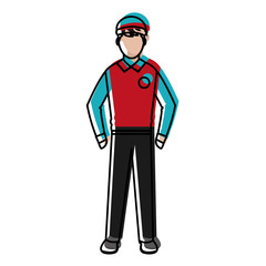 moved color man delivery courier service with uniform