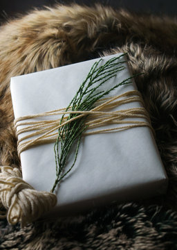 Holiday gift in natural wrapping with twine and cedar sprig