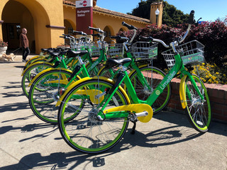 California-based bike sharing startup LimeBike displays its bikes at a recently-launched pilot program in Burlingame
