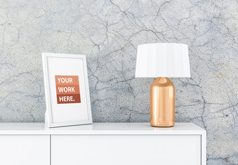 White Photo Frame Mockup with Gold Lamp on White Furniture