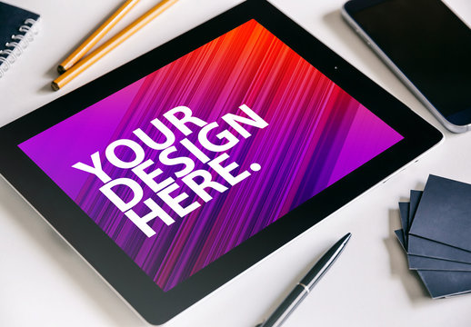 Tablet Mockup with Desk Accessories