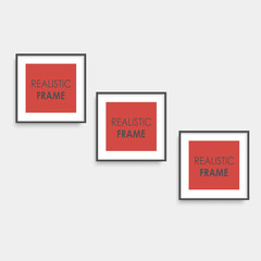 Set of brown square photo frames. Vector.