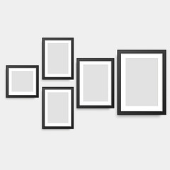 Set of black square photo frames. Vector.
