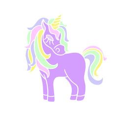 Purple unicorn with yellow horn icon