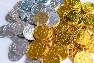 Among piles of golden and silver bitcoin on white background with Candle stick graph chart. Virtual cryptocurrency mining concept