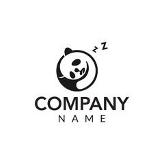 Sleep panda vector logo icon illustration