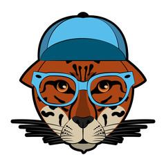 Cool hipster leopard head cartoon vector illustration graphic design