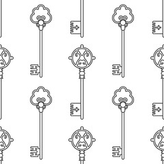 Vintage keys. Black and white seamless pattern for coloring books, pages. Vector