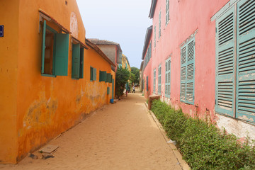 Senegal, Dakar. French colonial buildings, Goree Island