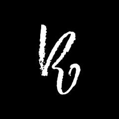 Letter R. Handwritten by dry brush. Rough strokes textured font. Vector illustration. Grunge style elegant alphabet.