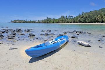 Blue Kayak on Muri beach lagoon in Rarotonga Cook Islands