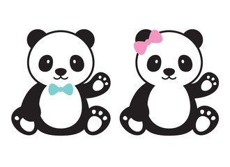 Cute baby boy and baby girl pandas vector illustration.