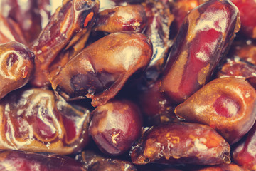 Eastern cuisine. Close the view of the heap of dates.