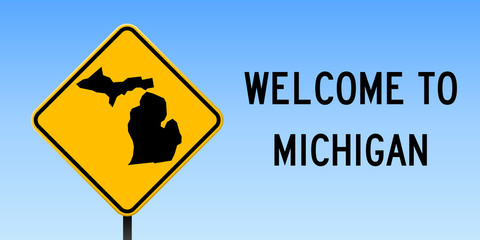 Michigan map on road sign. Wide poster with Michigan us state map on yellow rhomb road sign. Vector illustration.