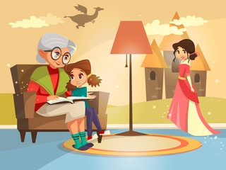 Vector cartoon grandmother reading fairy tale book to girl kid sitting at armchair. Illustration elderly parent child on background of home interior with dragon princess castle on wall imagined by kid