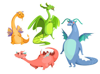 Vector cartoon cute magic dragons set. Blue red green orange color funny mythological creatures, fairy tale medieval monsters, happy fantastic flying animals smiling. Isolated background illustration