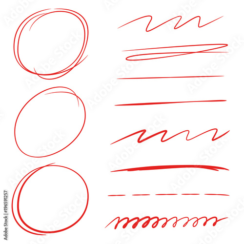 red hand drawn circle and underline set stock image and royalty
