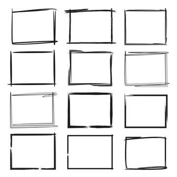 black grunge rectangle frame, border set