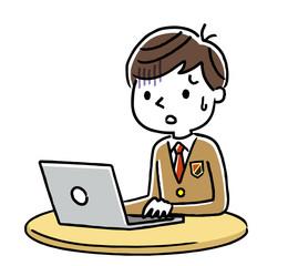 男子学生:インターネット、パソコン