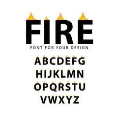 Fire Font Set Vector Template Design