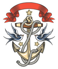 Anchor with Swallows and Ribbon Illustration
