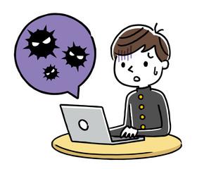 男子学生:パソコン、ウイルス、感染