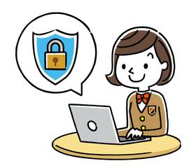女子学生:インターネット、セキュリティ