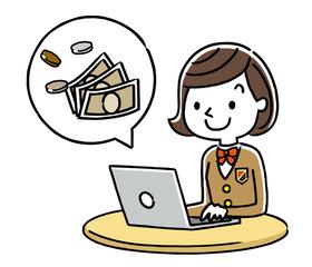 女子学生:パソコンとお金