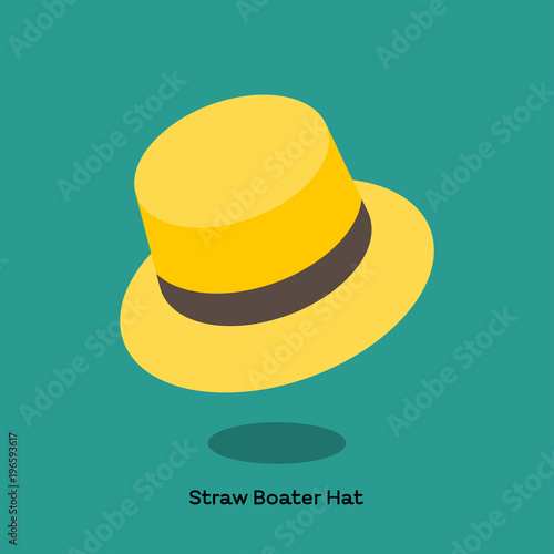 f536d8b1 Light weight straw hat with flat brim and flat top for seamen, boater, is  very popular in summer time.