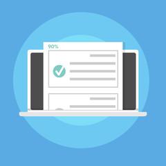 Online quiz, test, survey or checklist. Exam list. E-education concept. Vector illustration.