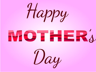 Inscription Happy mother's day with paper cut 3d effect. Vector illustrationy.