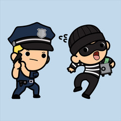 Police officer, policeman or Cop  chasing a thief holding Safe ,Vector illustration in a flat style , Cute cartoon