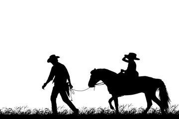 silhouette cowboy and girl riding a horse on white background