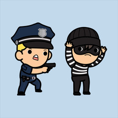 Police officer, policeman or Cop  chasing a thief , Vector illustration in a flat style , Cute cartoon