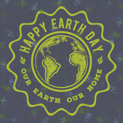 Vintage Happy Earth Day poster