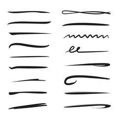 black hand drawn underlines, brush lines