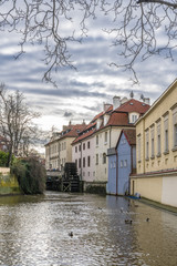 Old water mill in the old Prague quarter