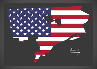 Detroit Michigan map with American national flag illustration