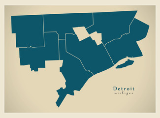 Modern City Map - Detroit Michigan city of the USA with districts