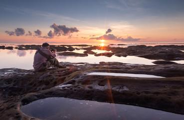 Sunset seascape at Kudat, Sabah Malaysia.
