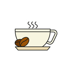 Cup of Hot Coffee Thin Line Icon Illustration
