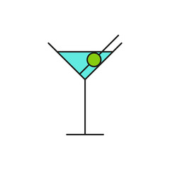 Blue Cocktail Glass Thin Line Icon Illustration
