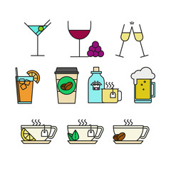 Various Beverages Menu Cafe Related Thin Line Icon Illustration Set