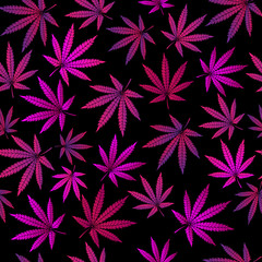 Seamless pattern with lilac marijuana sheets