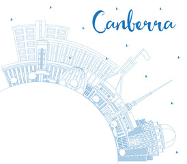 Outline Canberra Australia City Skyline with Blue Buildings and Copy Space.
