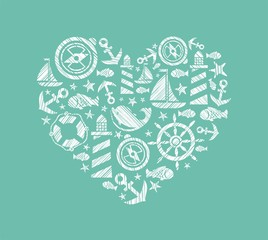 Sea heart background, blue-green, vector. Dolphin, fish and attributes sea travel. White icons in the shape of a heart. Vector picture. Hatching with a white pencil on a blue-green field. Imitation.