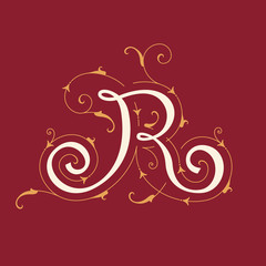 Colorful floral initial capital letter R