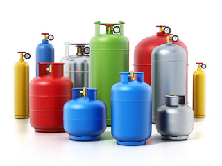 Multi-colored gas cylinders isolated on white background. 3D illustration