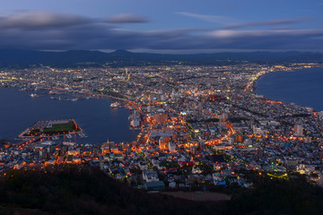 Aerial view of Hakodate at twilight view from the top of Mount Hakodate in autumn, Hakodate, Japan.