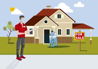 Real Estate Salesman Showing a Recent Construction House